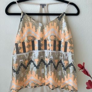 Charlotte Russ Sequins Tank Top Size Small